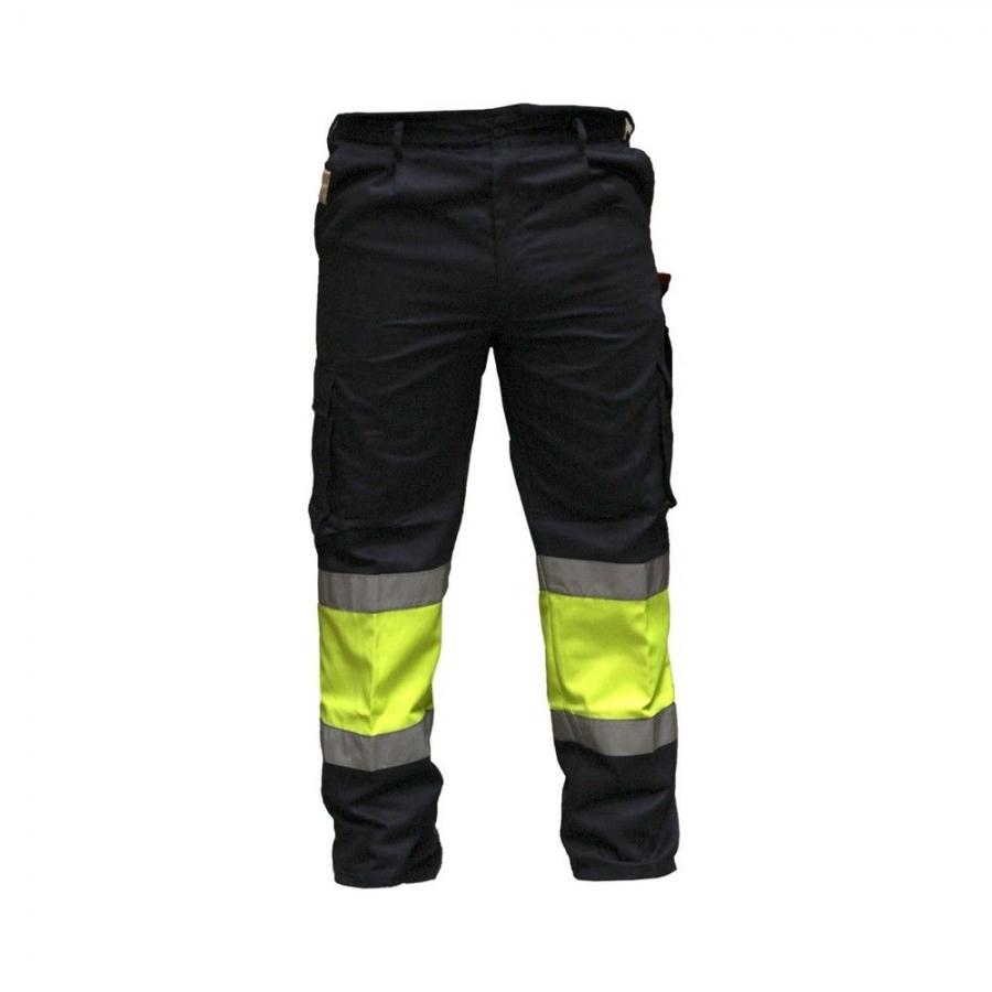 Pantalon De Trabajo Tipo Cargo Con Cintas De Alta Visibilidad Gris
